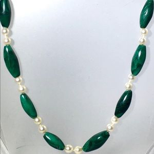 Cultured Pearls and Malachite with Mikimoto Clasp